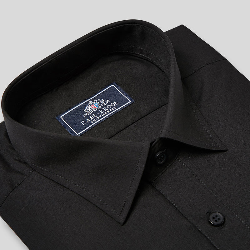 Rael Brook Classic Fit Black Double Cuff Shirt Collar