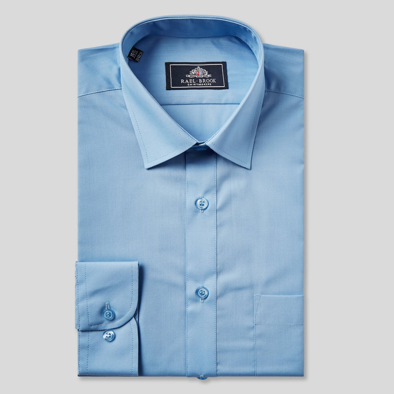 Rael Brook Classic Fit Mid Blue Single Cuff Shirt