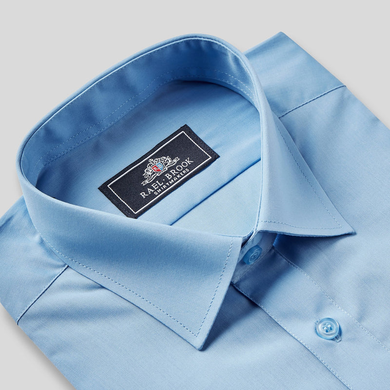 Rael Brook Classic Fit Mid Blue Single Cuff Shirt Collar