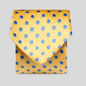 Yellow And Mid Blue Neat Polka Dot Classic Tie