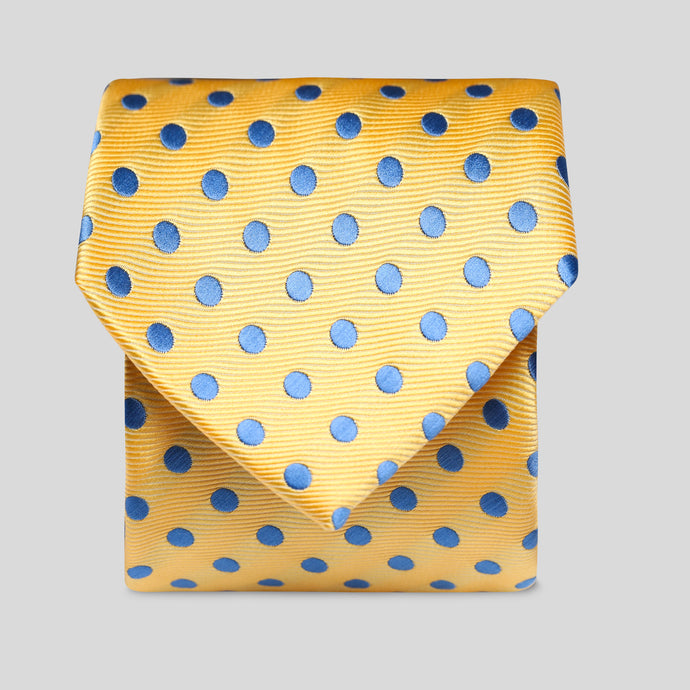 Folkespeare Yellow And Mid Blue Neat Polka Dot Classic Tie