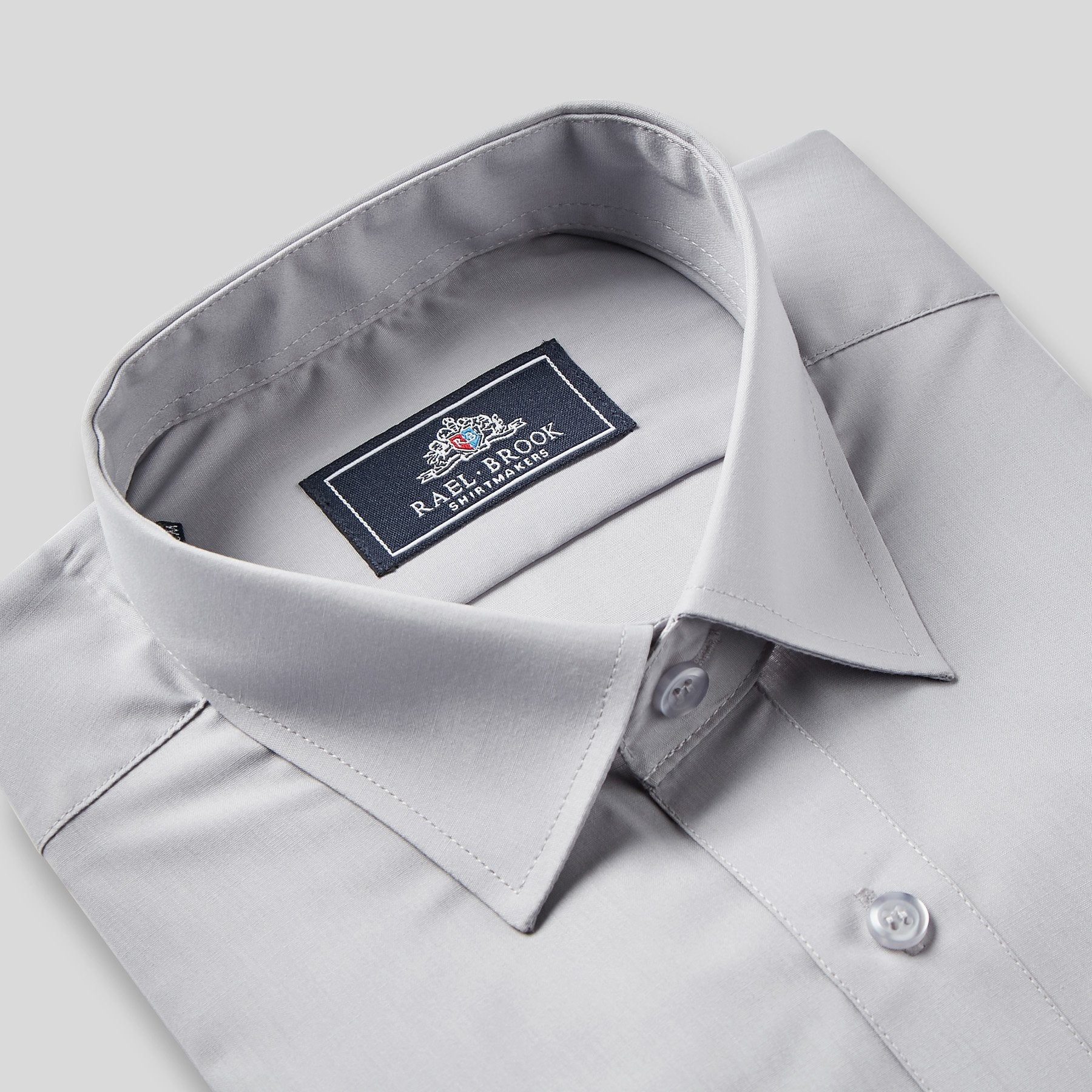 Rael Brook Classic Fit Grey Single Cuff Shirt Collar