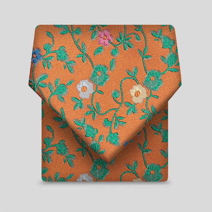 Tangerine With Leaf And Flower Classic Tie