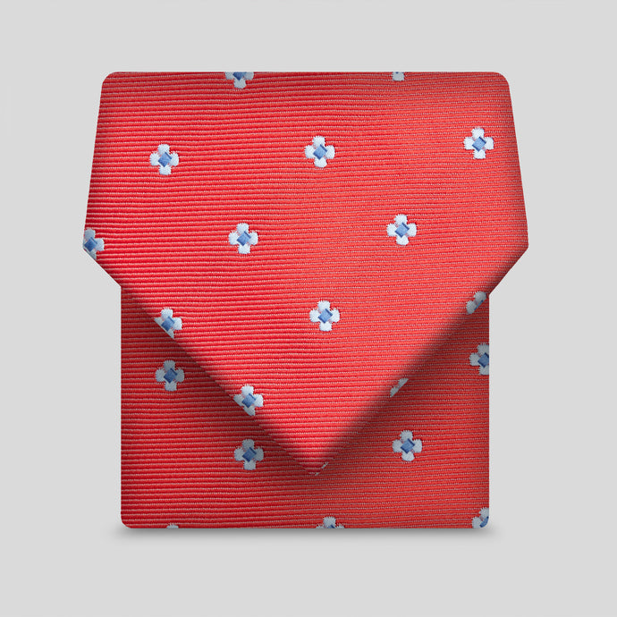 Red And Light Blue Mini Flower Classic Tie
