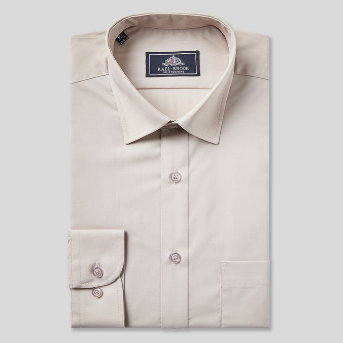 Rael Brook Classic Fit Beige Single Cuff Shirt