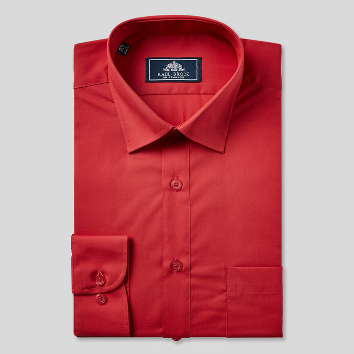 Rael Brook Classic Fit Red Single Cuff Shirt