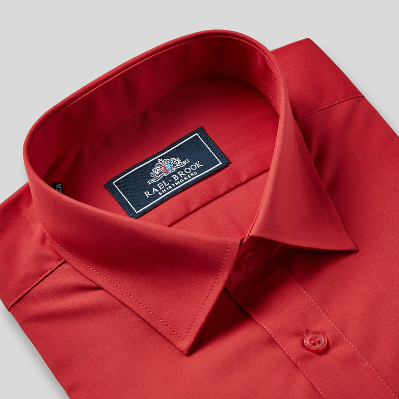 Rael Brook Classic Fit Red Single Cuff Shirt Collar