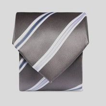 Load image into Gallery viewer, Folkespeare Steel Grey With White Flanked Nay And Lilac Stripes Classic Tie