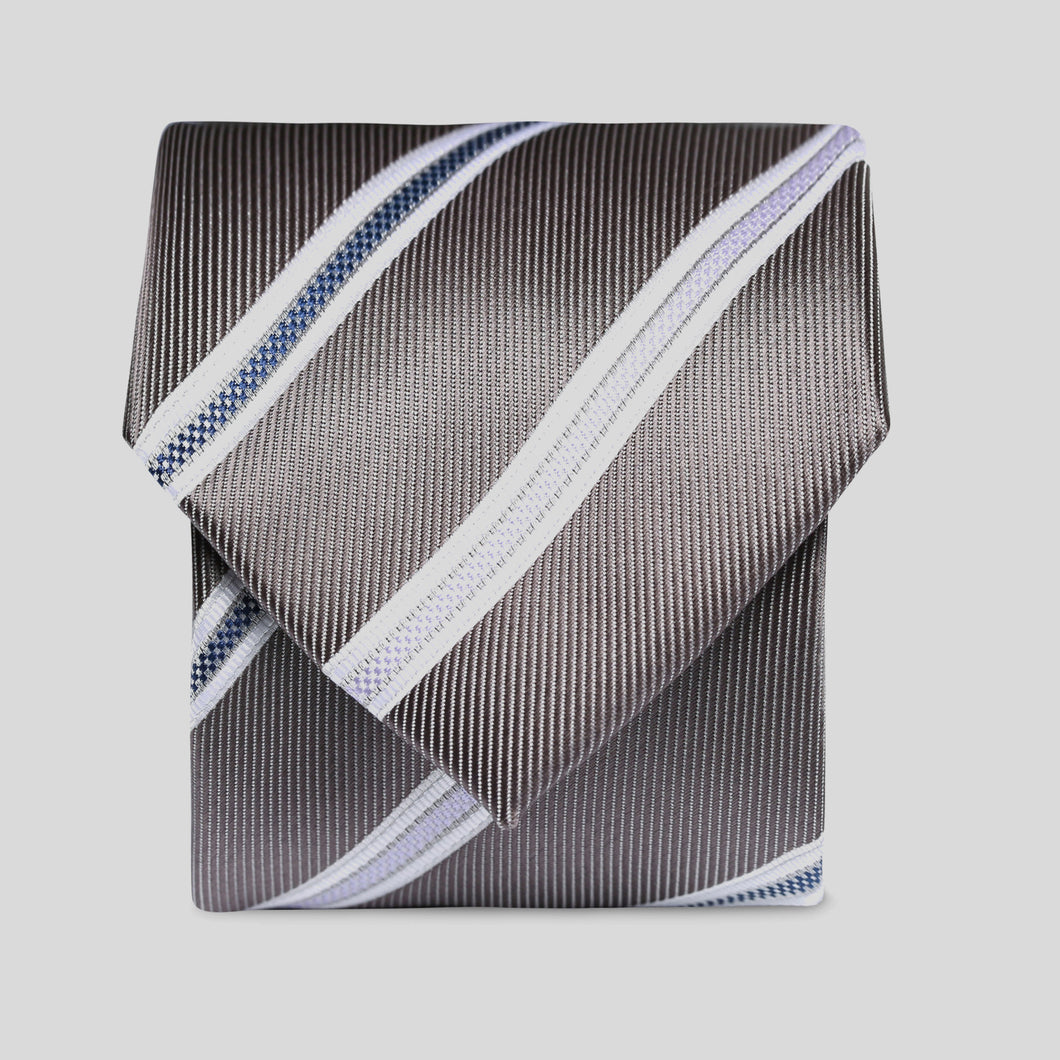 Folkespeare Steel Grey With White Flanked Nay And Lilac Stripes Classic Tie