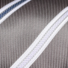 Load image into Gallery viewer, Folkespeare Steel Grey With White Flanked Nay And Lilac Stripes Classic Tie Fabric