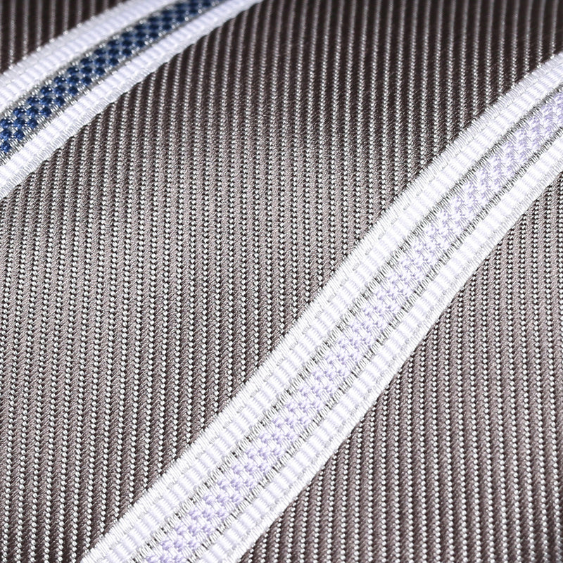 Folkespeare Steel Grey With White Flanked Nay And Lilac Stripes Classic Tie Fabric