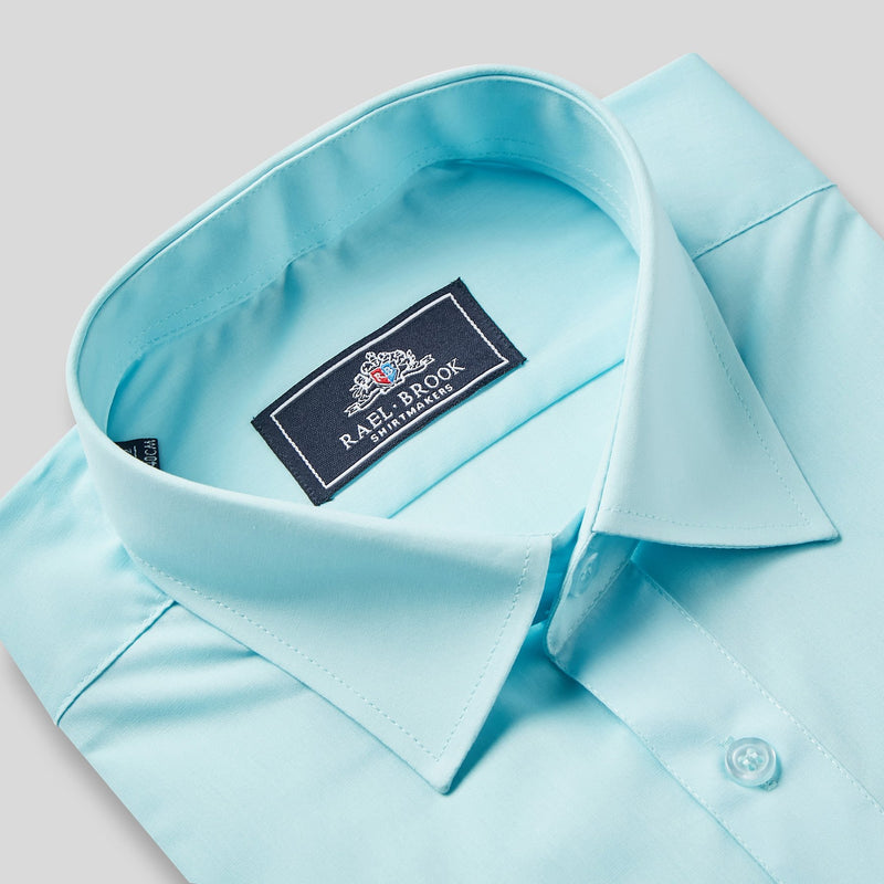 Rael Brook Classic Fit Cyan Single Cuff Shirt Collar