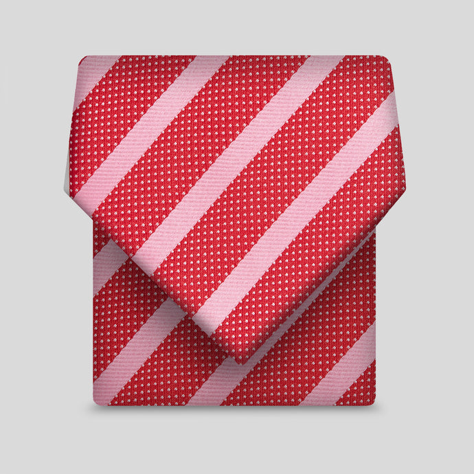 Red And Pink Wide Stripe And Micro Polka Dot Classic Tie