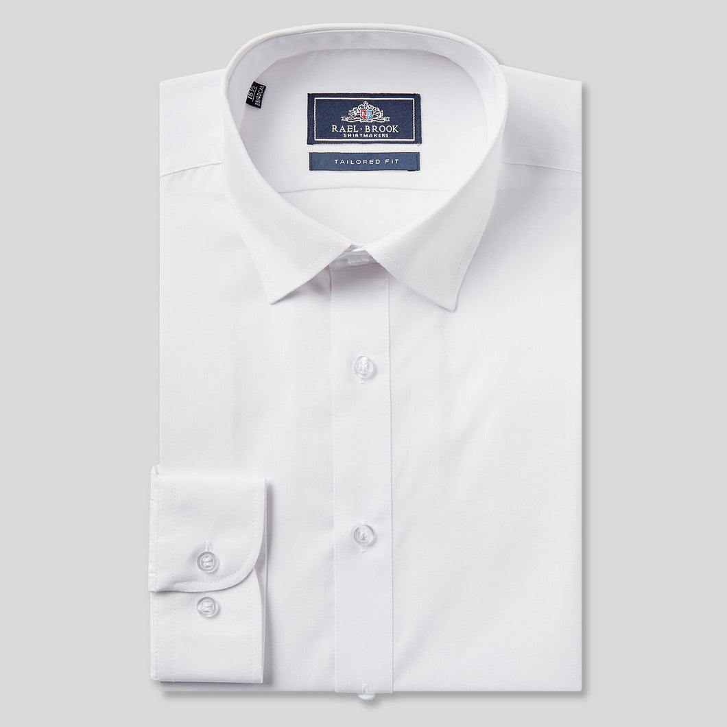 Rael Brook Tailored Fit White Single Cuff Shirt