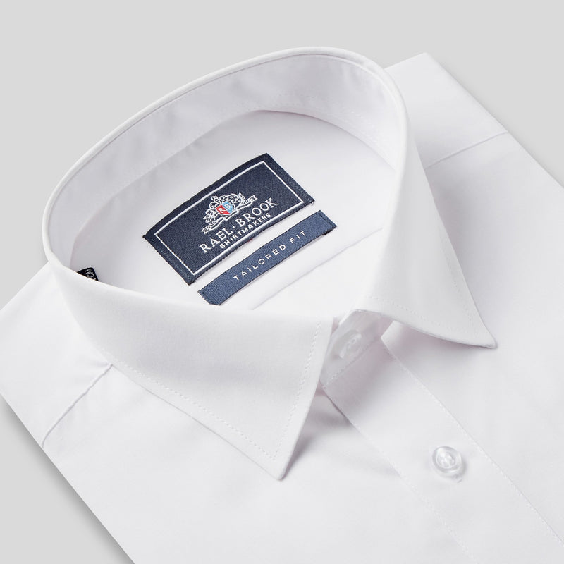 Rael Brook Tailored Fit White Single Cuff Shirt Collar