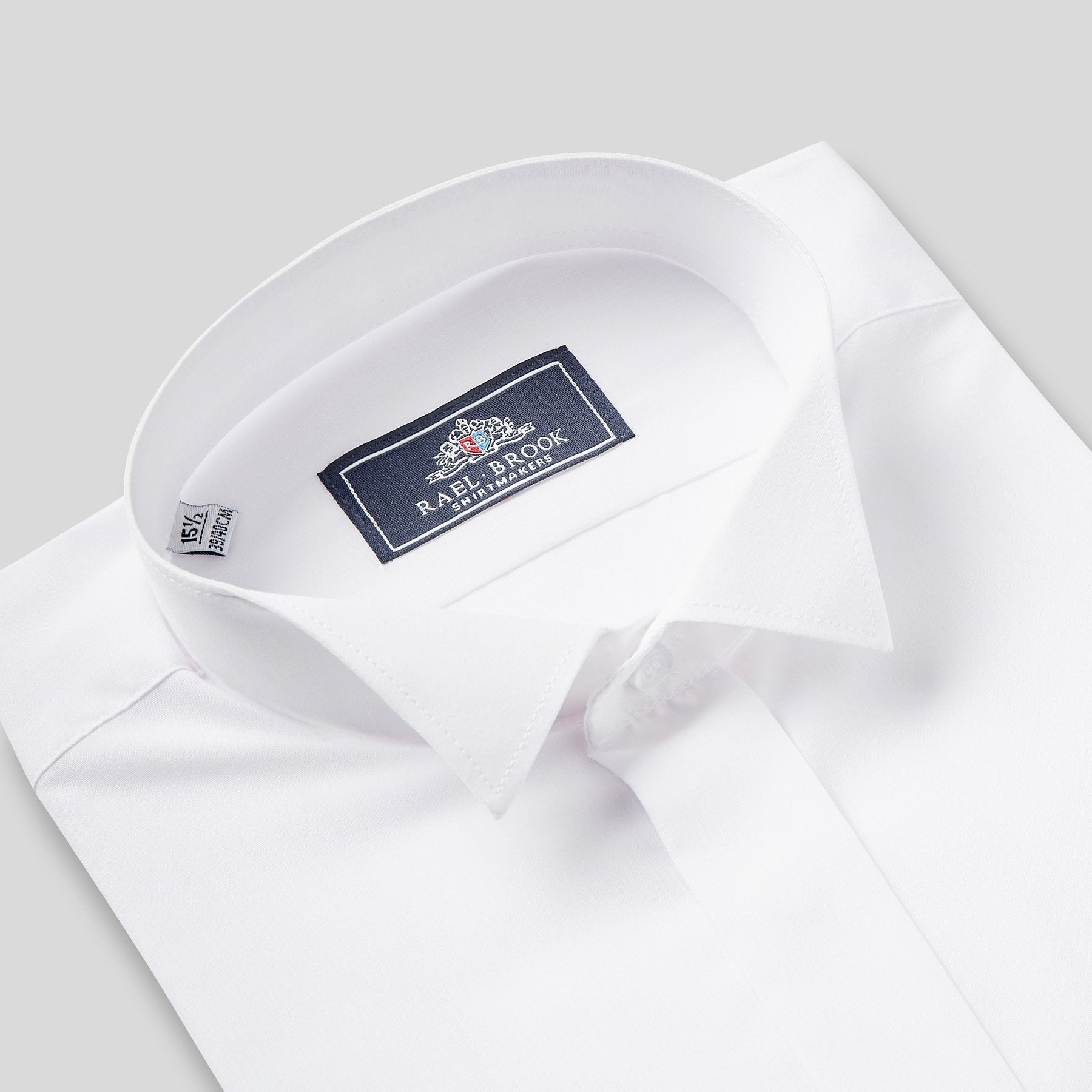 Rael Brook Tailored Fit White Wing Collar Dress Shirt Collar
