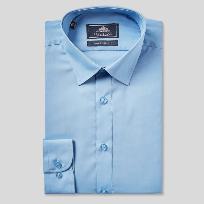 Rael Brook Tailored Fit Mid Blue Single Cuff Shirt