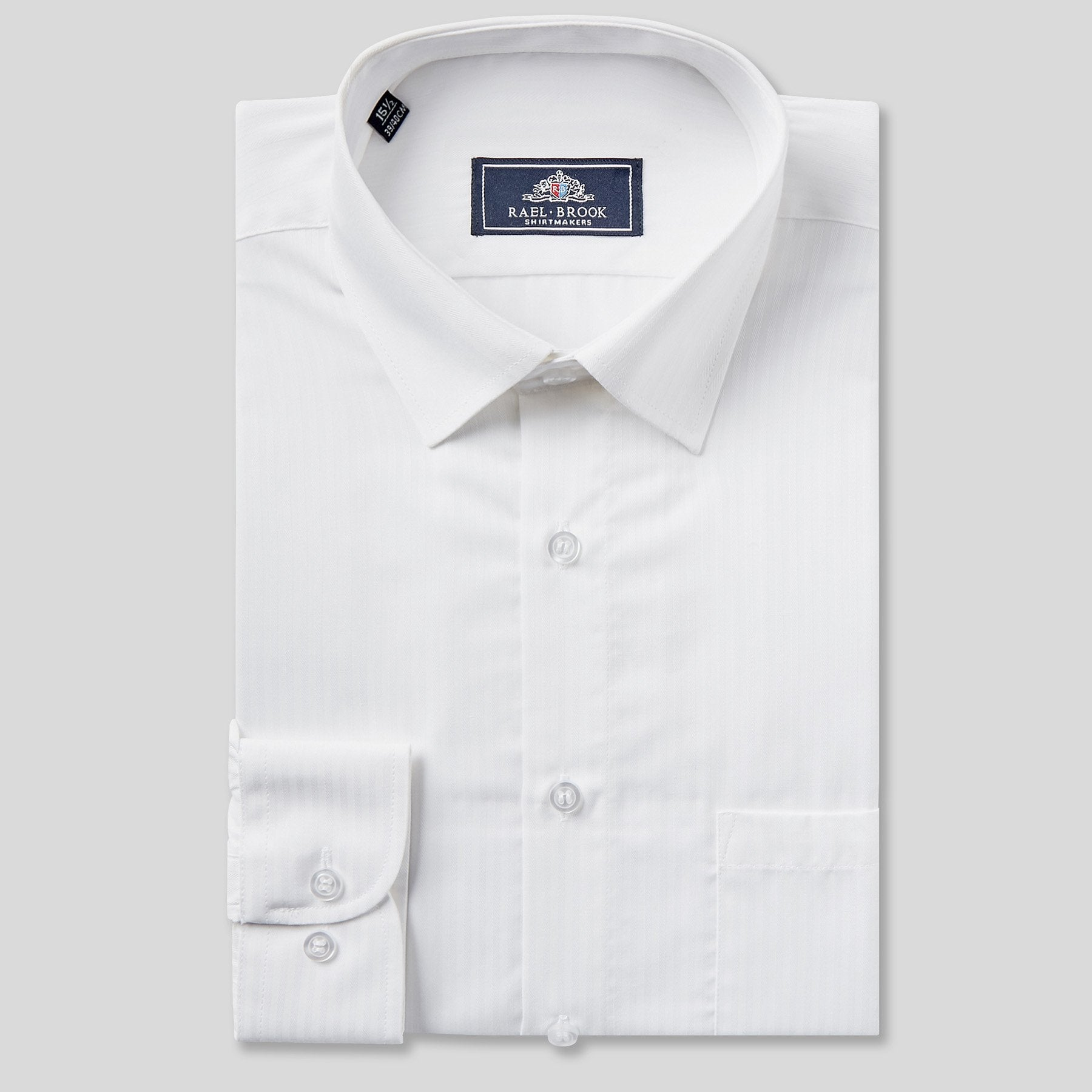 Rael Brook Classic Fit White On White Satin Single Cuff Shirt