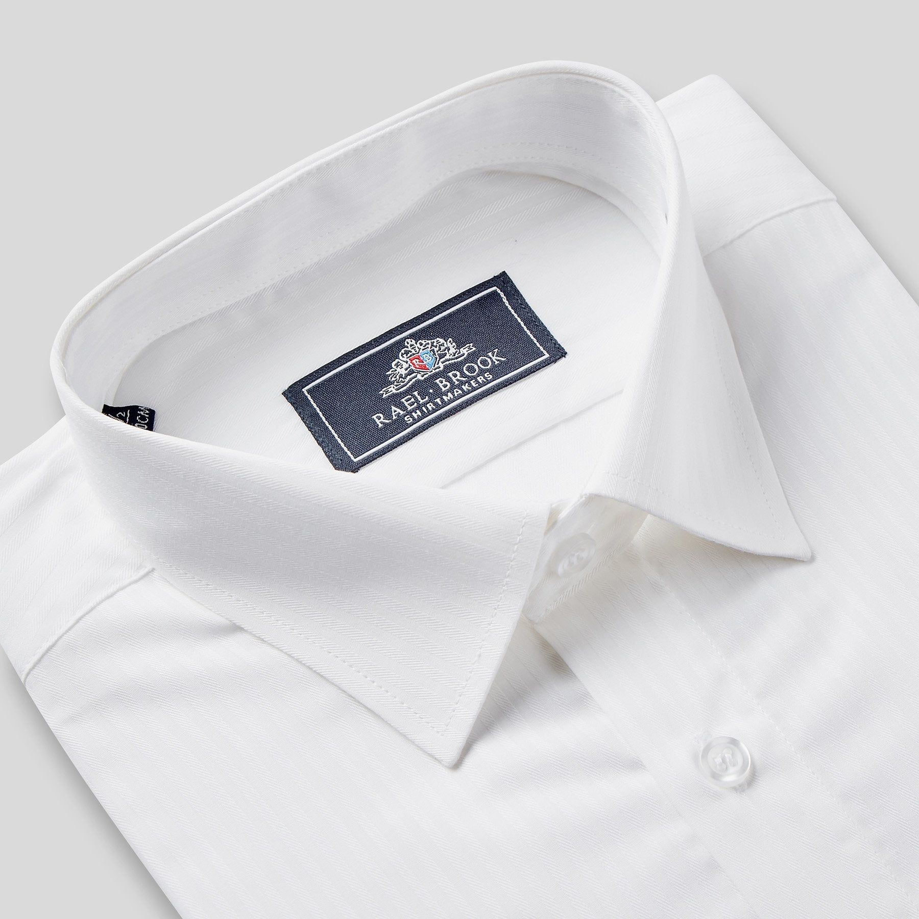 Rael Brook Classic Fit White On White Satin Single Cuff Shirt Collar