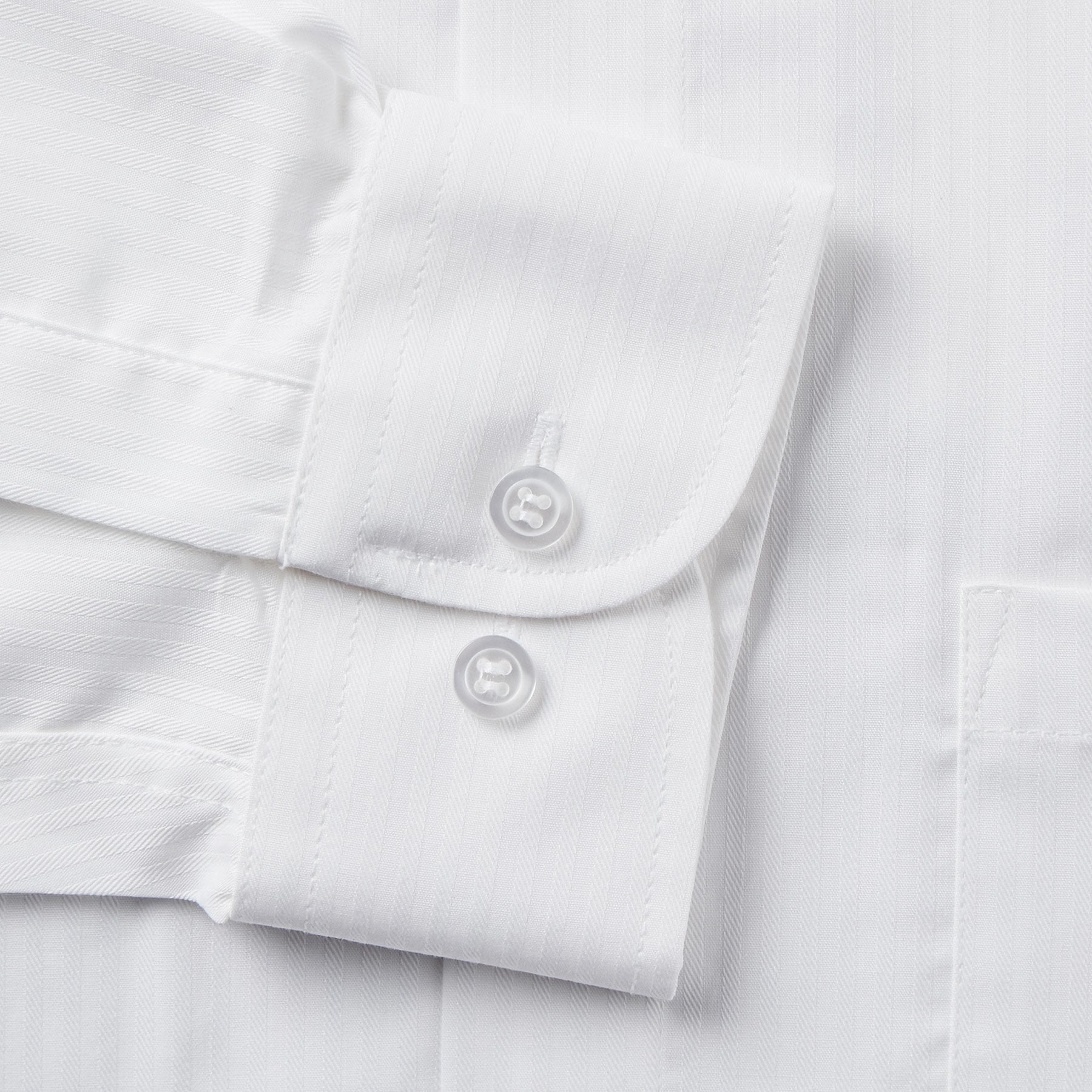 Rael Brook Classic Fit White On White Satin Single Cuff Shirt Cuff