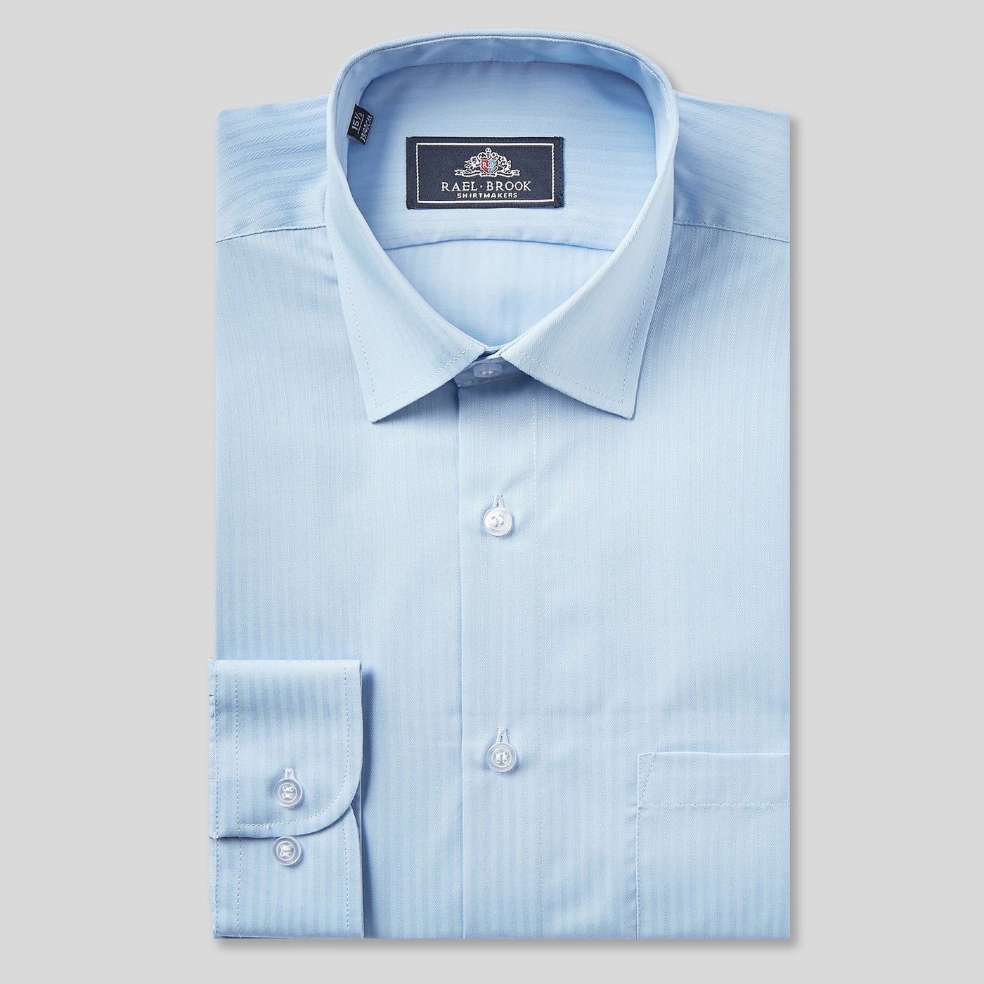 Rael Brook Classic Fit Blue On Blue Satin Single Cuff Shirt