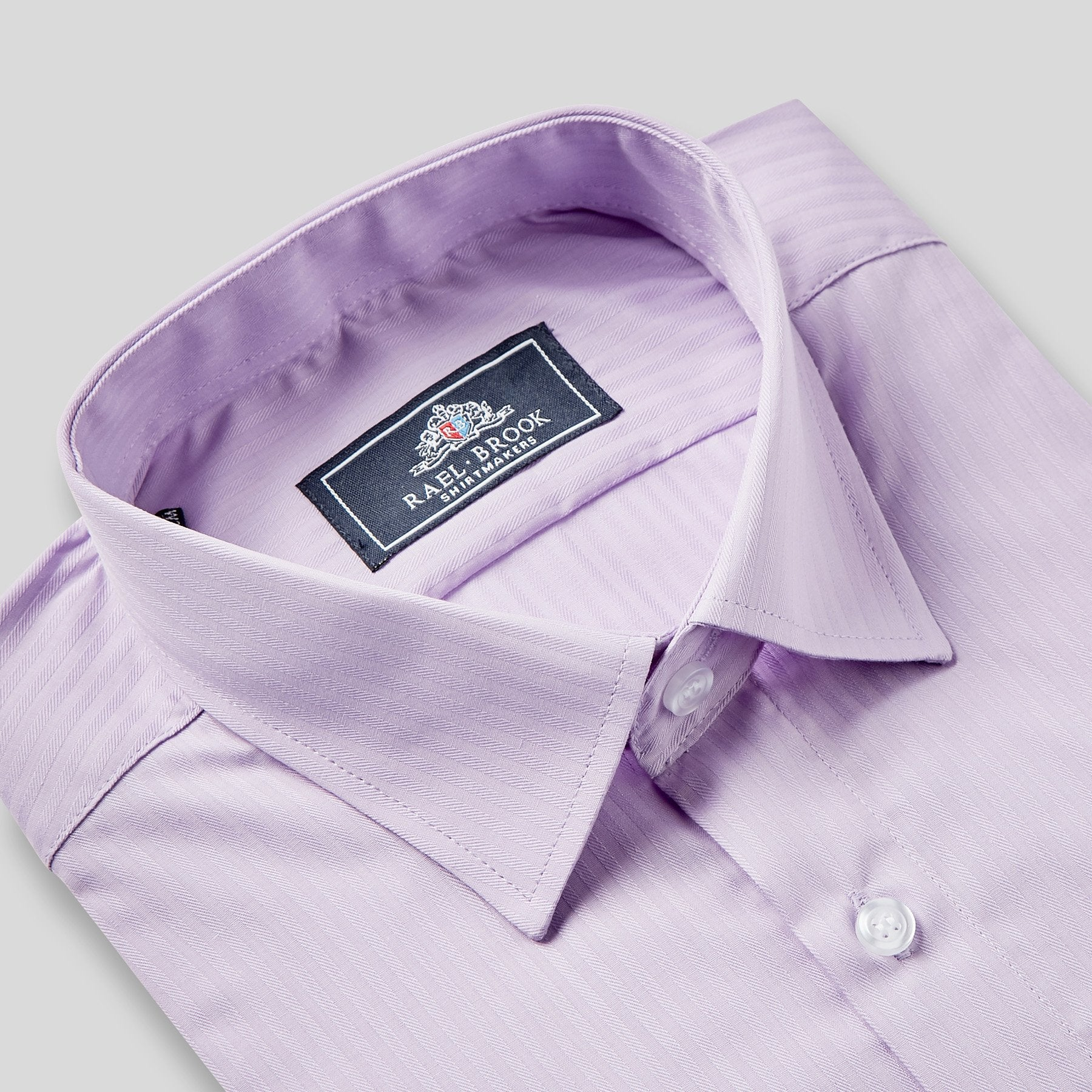 Rael Brook Classic Fit Purple On Purple Satin Single Cuff Shirt Collar
