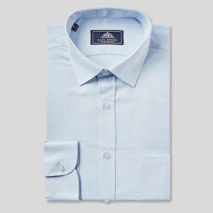 Rael Brook Classic Fit Light Blue Micro Dobby Single Cuff Shirt