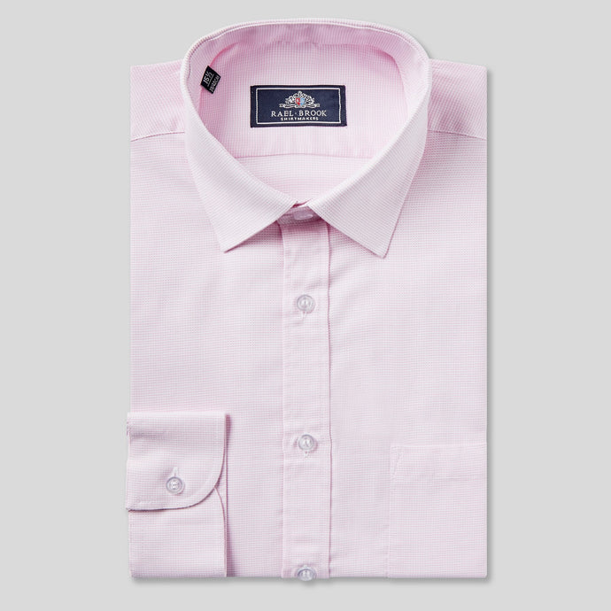 Rael Brook Classic Fit Pink Micro Dobby Single Cuff Shirt