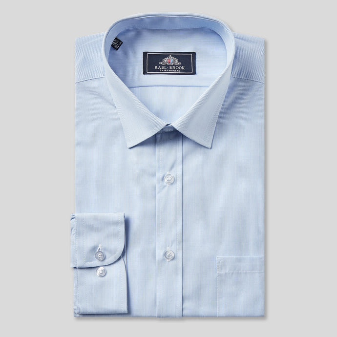 Rael Brook Classic Fit Blue Pinstripe Single Cuff Shirt