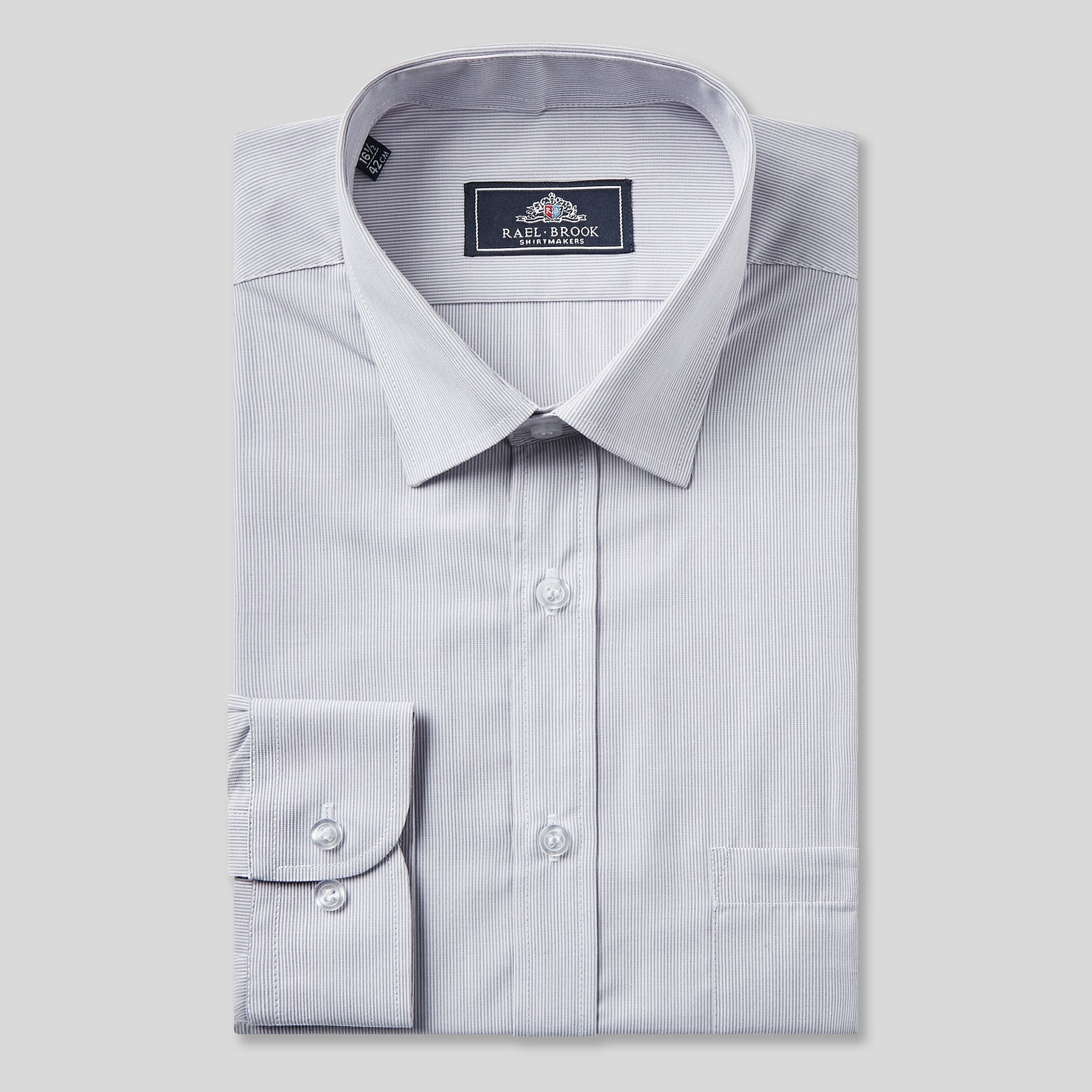 Rael Brook Classic Fit Grey Pinstripe Single Cuff Shirt