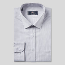 Load image into Gallery viewer, 9033-Rael-Brook-Classic-Fit-Grey-Pinstripe-Single-Cuff-Shirt-1