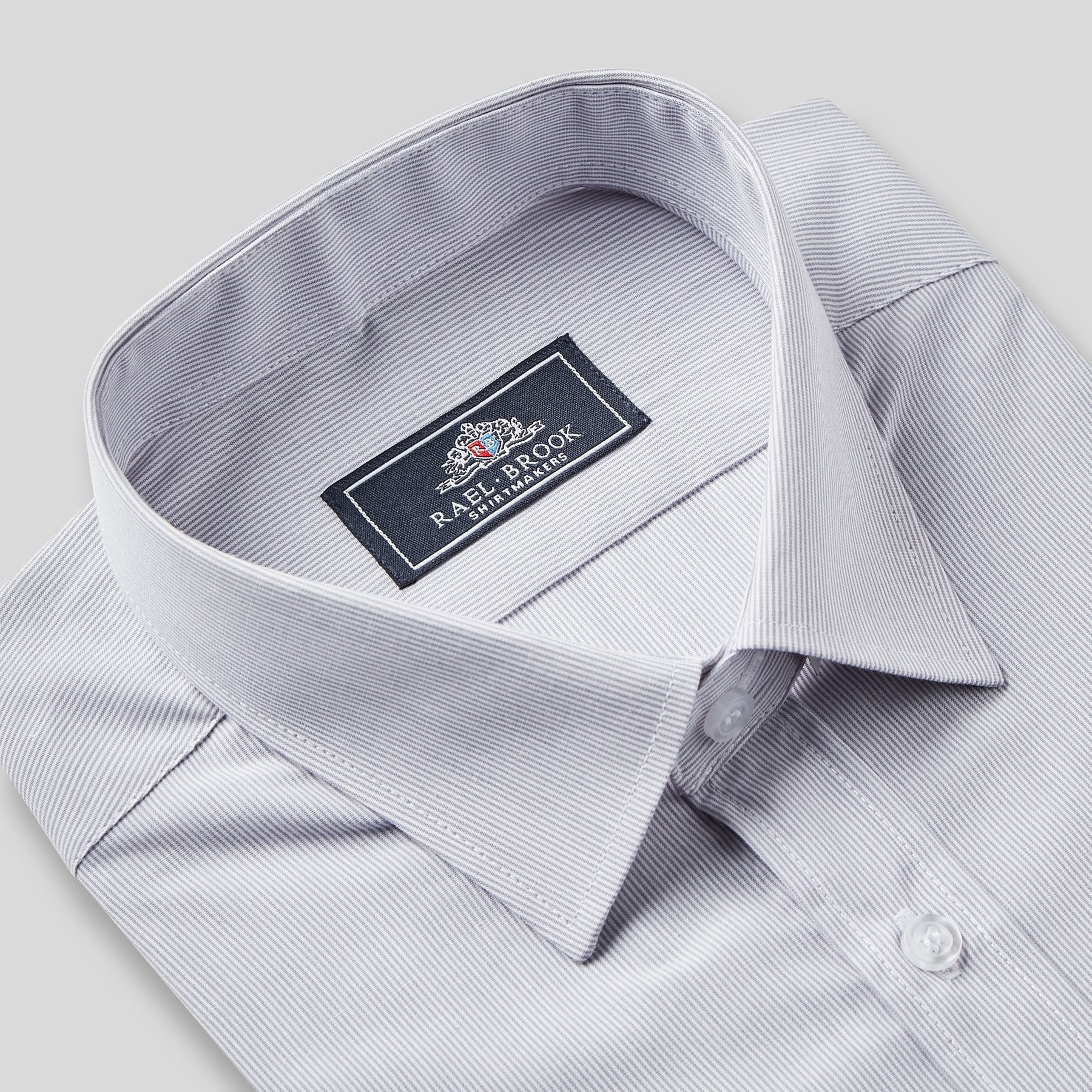 Rael Brook Classic Fit Grey Pinstripe Single Cuff Shirt Collar
