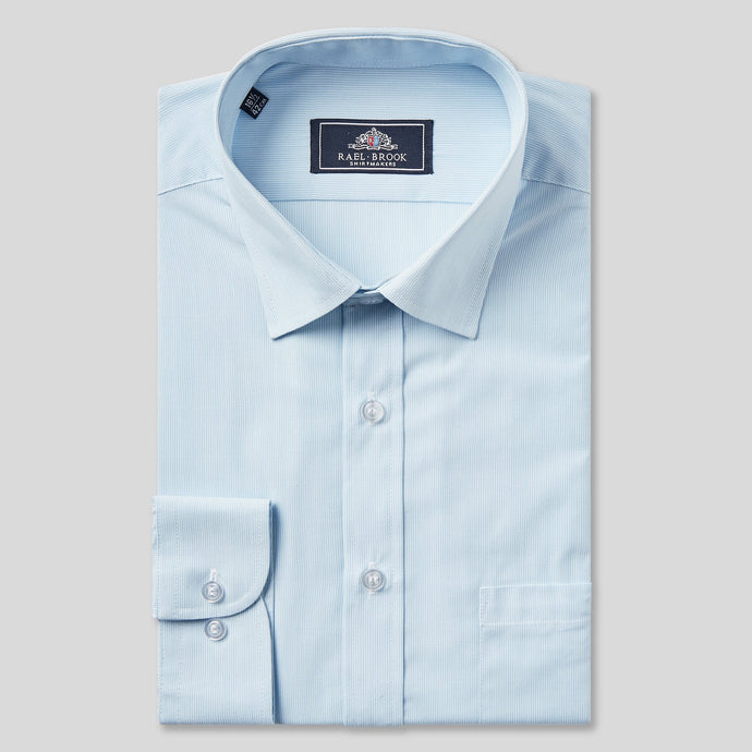 Rael Brook Classic Fit Light Blue Pinstripe Single Cuff Shirt