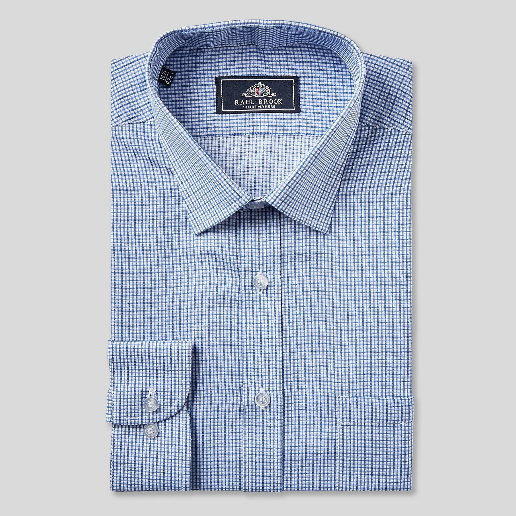 9041-Rael-Brook-Classic-Fit-Blue-Micro-Check-Single-Cuff-Shirt-1