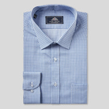 Load image into Gallery viewer, Rael Brook Classic Fit Blue Micro Check Single Cuff Shirt