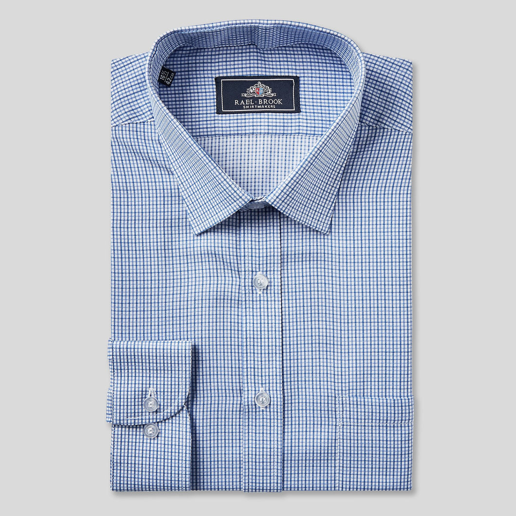 Rael Brook Classic Fit Blue Micro Check Single Cuff Shirt