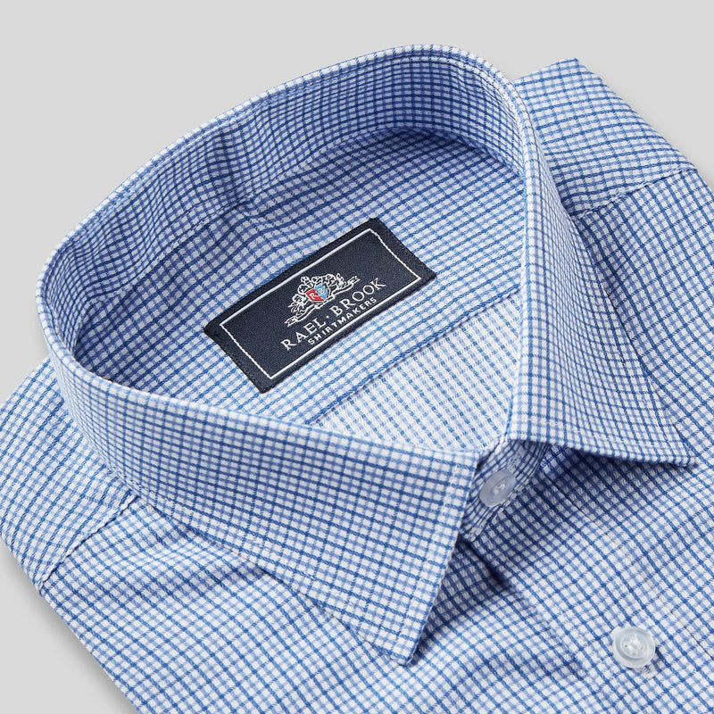 Rael Brook Classic Fit Blue Micro Check Single Cuff Shirt Collar