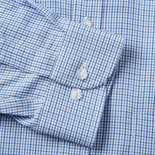 Load image into Gallery viewer, Rael Brook Classic Fit Blue Micro Check Single Cuff Shirt Cuff