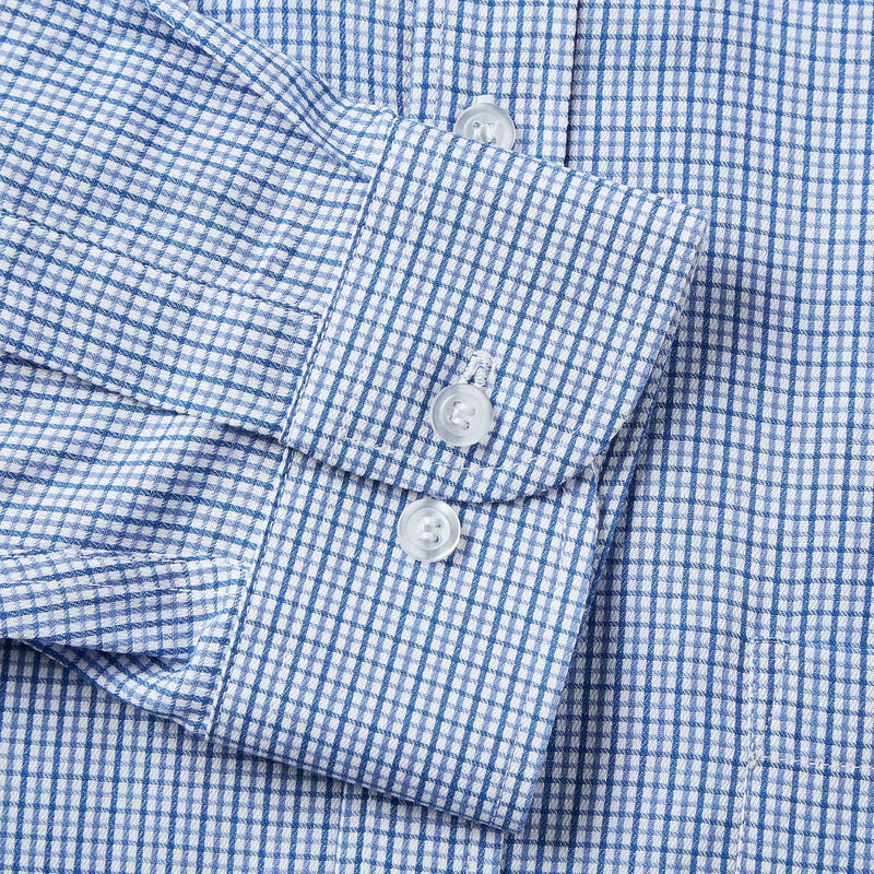 Rael Brook Classic Fit Blue Micro Check Single Cuff Shirt Cuff
