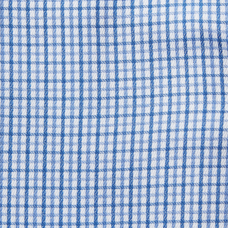 Rael Brook Classic Fit Blue Micro Check Single Cuff Shirt Fabric