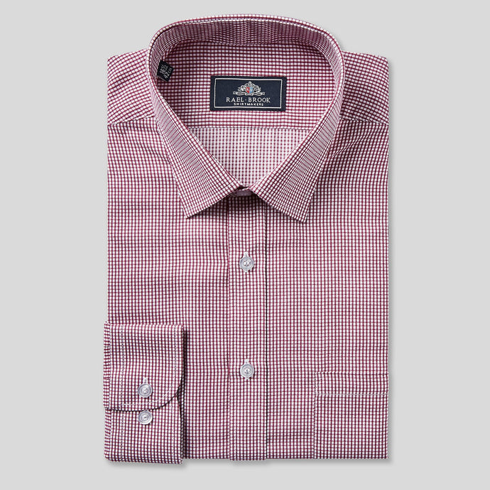 Rael Brook Classic Fit Burgundy Micro Check Single Cuff Shirt