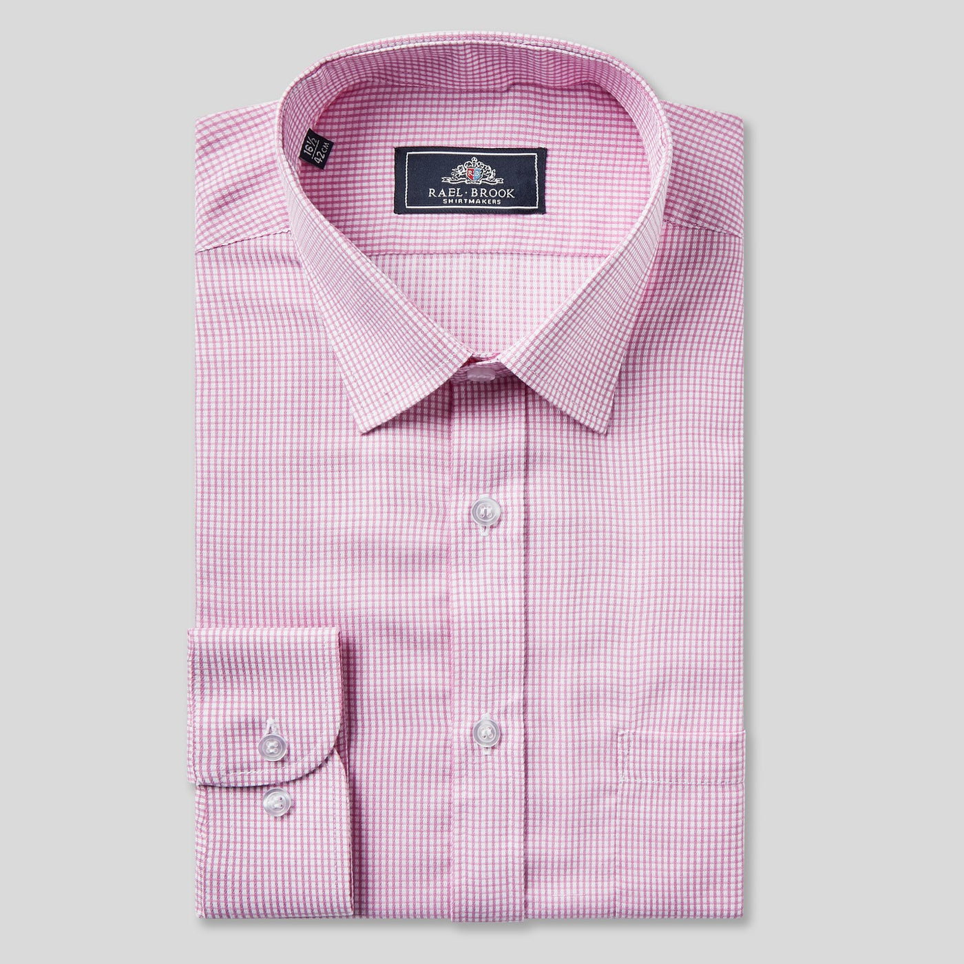 Rael Brook Classic Fit Pink Micro Check Single Cuff Shirt
