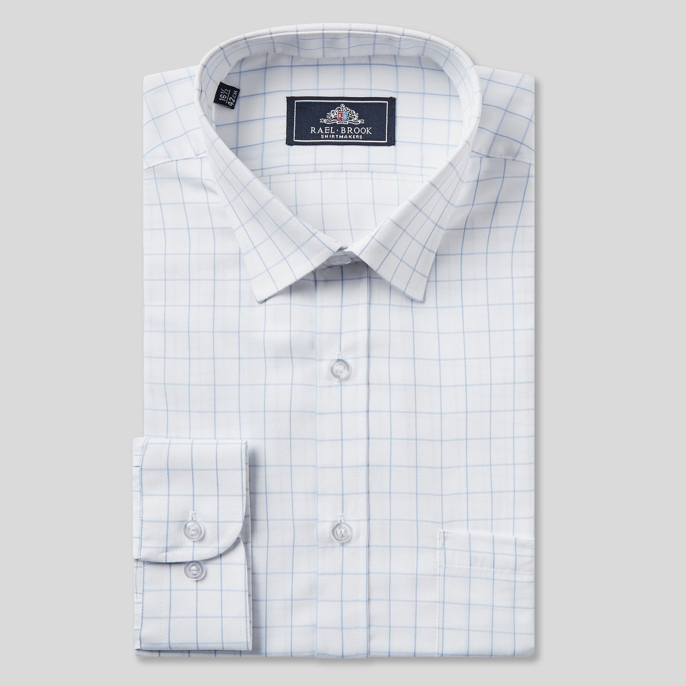 Rael Brook Classic Fit White Window Pane Check Single Cuff Shirt