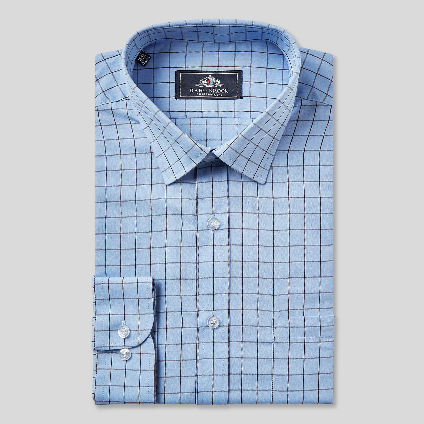 Rael Brook Classic Fit Blue Window Pane Check Single Cuff Shirt