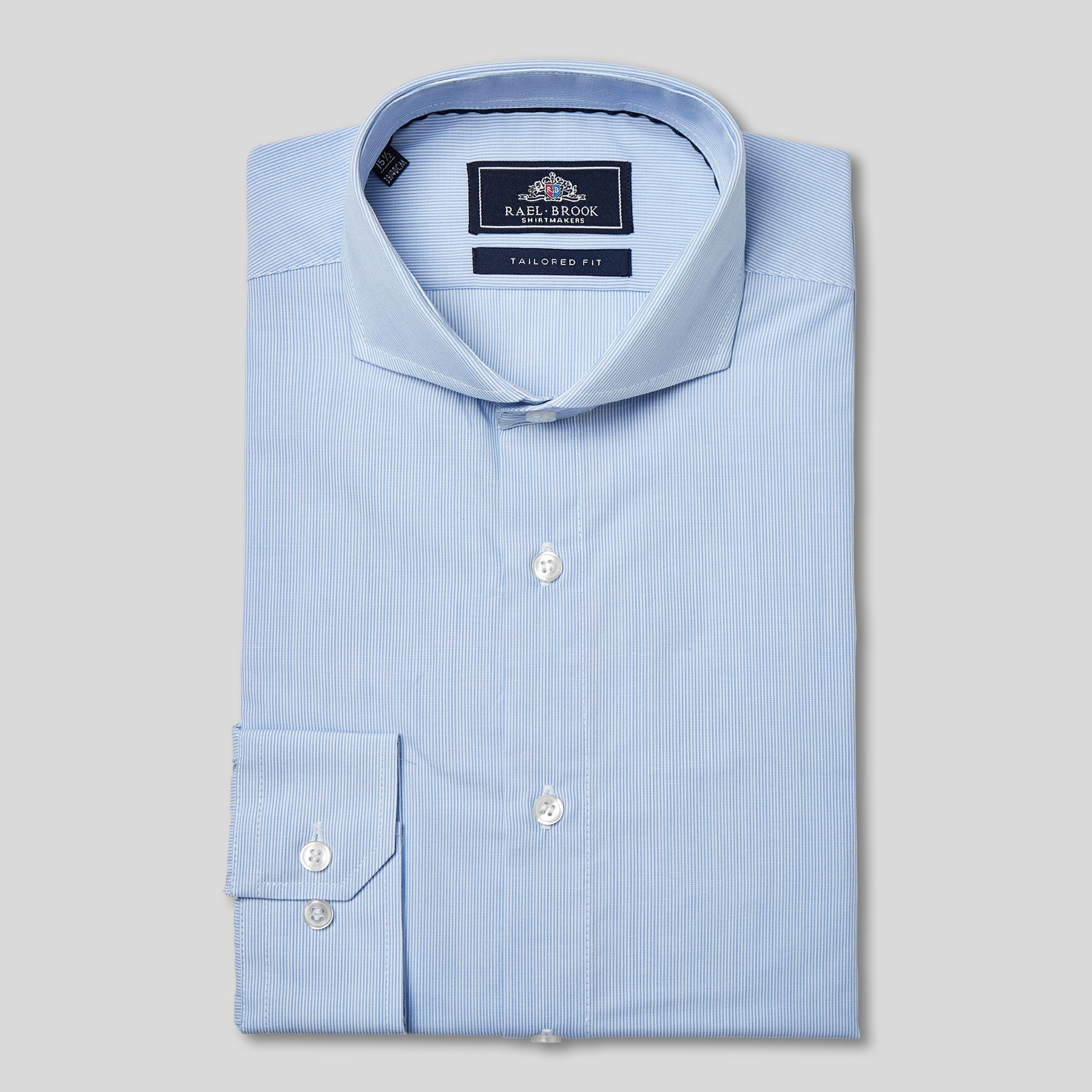 Rael Brook Tailored Fit Blue Pinstripe Single Cuff Shirt