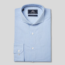 Load image into Gallery viewer, Rael Brook Tailored Fit Blue Pinstripe Single Cuff Shirt
