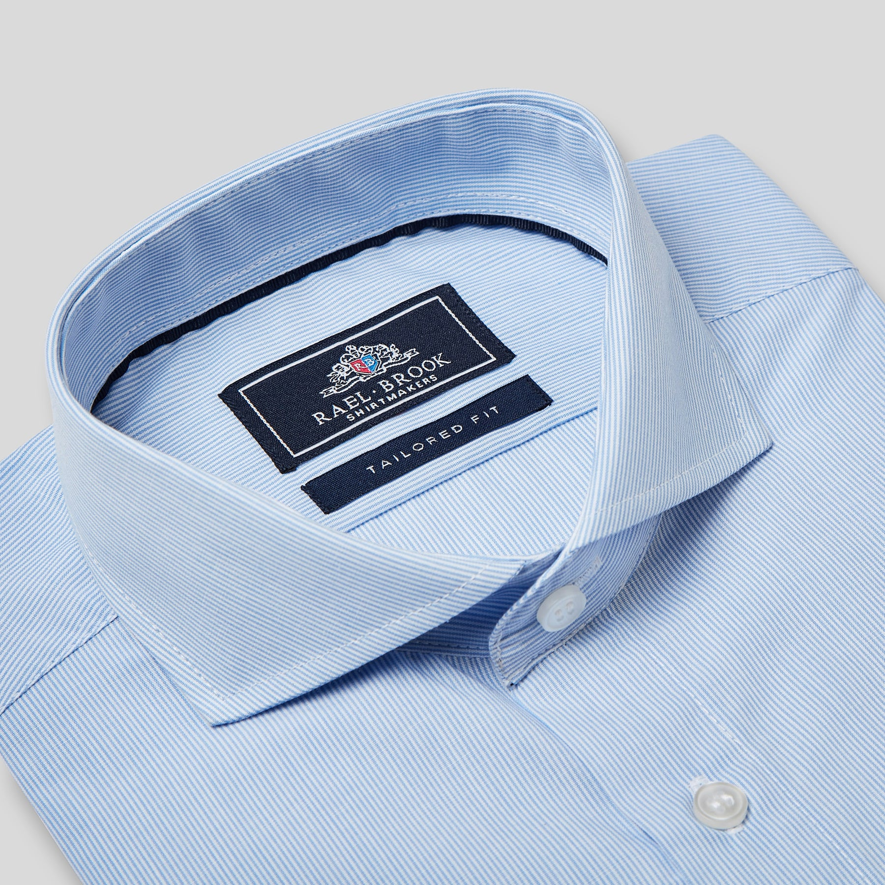 Rael Brook Tailored Fit Blue Pinstripe Single Cuff Shirt Collar