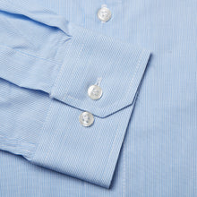 Load image into Gallery viewer, Rael Brook Tailored Fit Blue Pinstripe Single Cuff Shirt Cuff