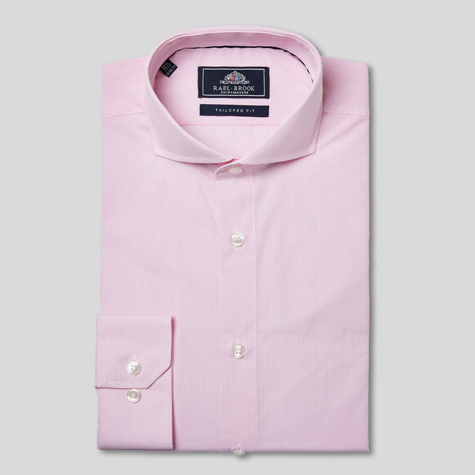 Tailored Fit Pink Pinstripe Single Cuff Shirt