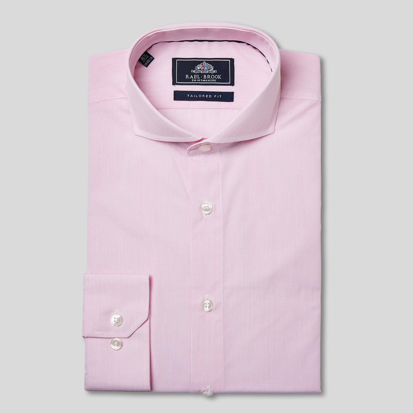 Rael Brook Tailored Fit Pink Pinstripe Single Cuff Shirt